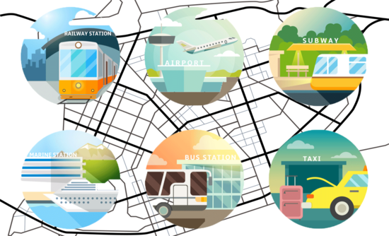 Public transportation icons over a map