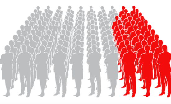 Silhouettes in gray and red