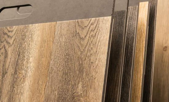 Samples of PVC vinyl flooring