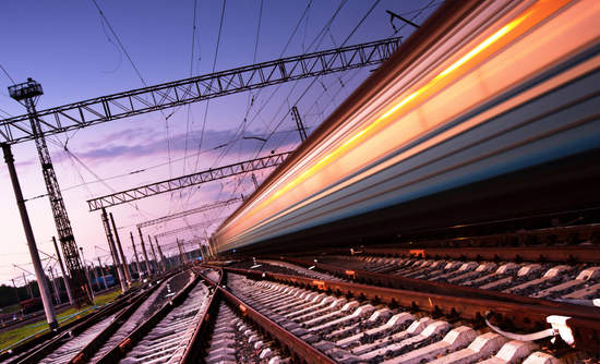 Train speeding through station