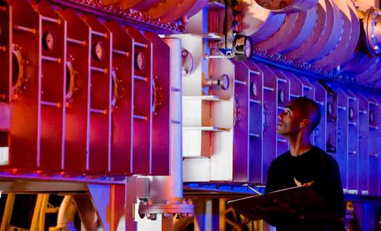 Worker checks desalination equipment on Ascension Island