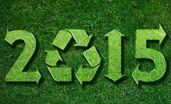 2015 with a recycling symbol