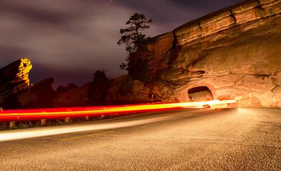 Drive near Red Rocks Ampitheater near Boulder, Colorado
