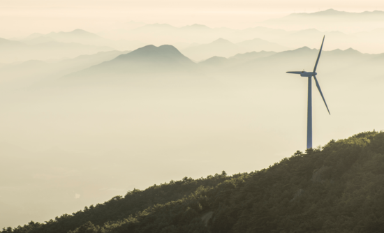 wind turbine on a mountain