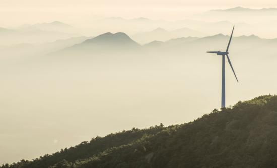 wind turbine on a mountain