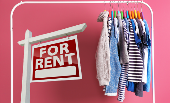 clothes on a rack for rent