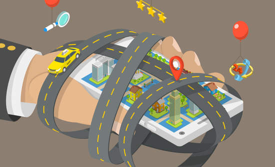 Illustration of a hand hailing a car from a smartphone