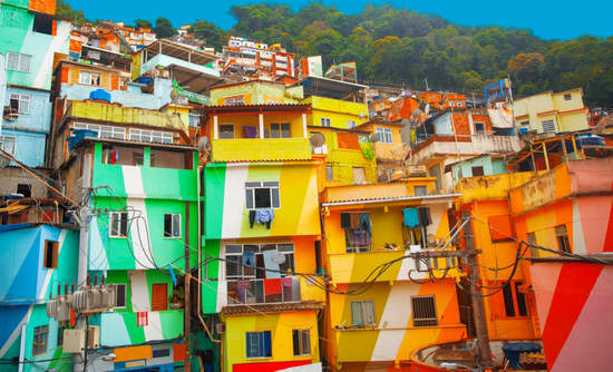 Painted buildings in a favela in Rio de Janeiro, Brazil