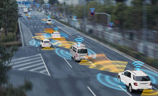 Road with cars with sensors