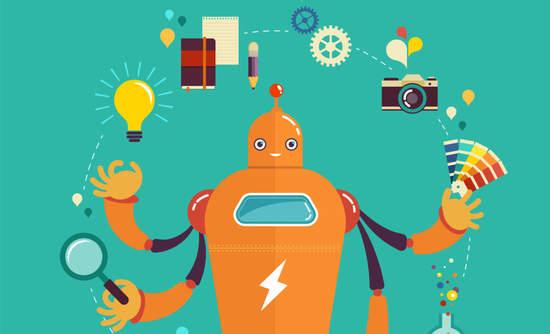 Illustration of a robot juggling various jobs