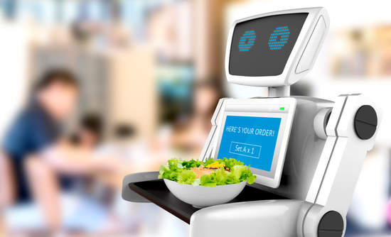 Robot bringing salad