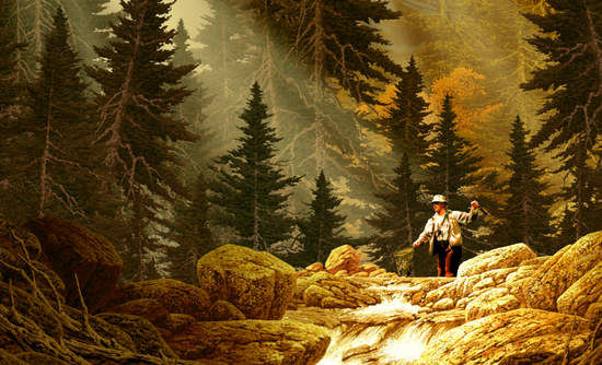 Fly Fisherman in the Rocky Mountains painting