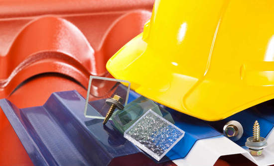 Hard hat and roofing materials