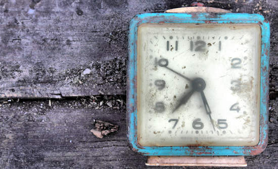 A rusted alarm clock