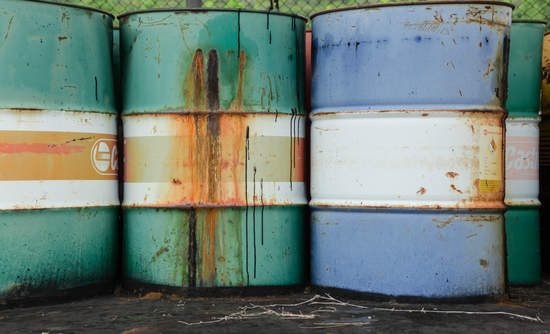 A rusting oil barrel
