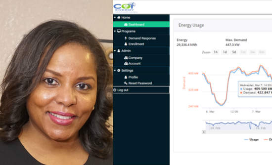 SaLisa Berrien and a COI Energy dashboard