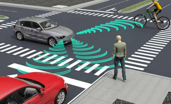 3D rendering of a self-driving car
