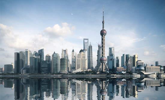 Shanghai skyline with reflection.