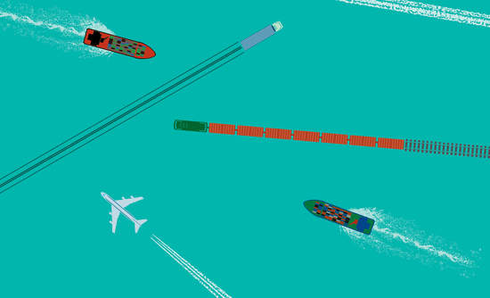 Illustration of aerial view of ships and planes