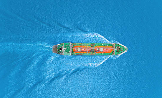 Oil tanker, aerial view