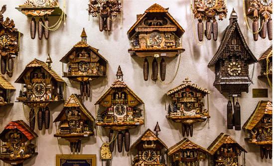 Vintage cuckoo clocks in Munich, Germany.