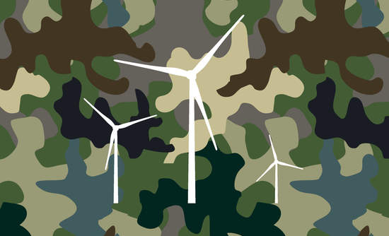 military camoflauge clean energy wind turbine