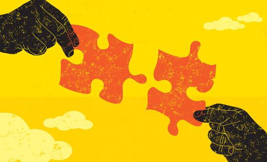 puzzle pieces, climate change, business CEOs city mayors