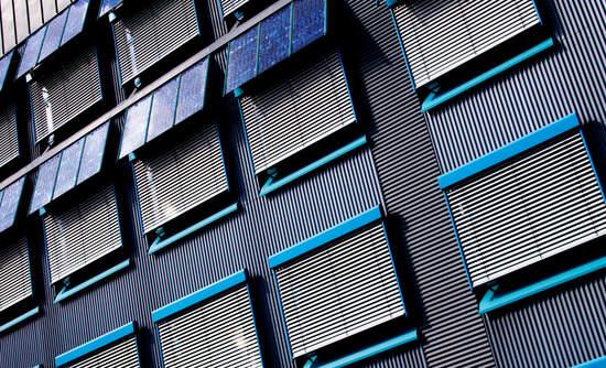 Solar panels on an apartment building