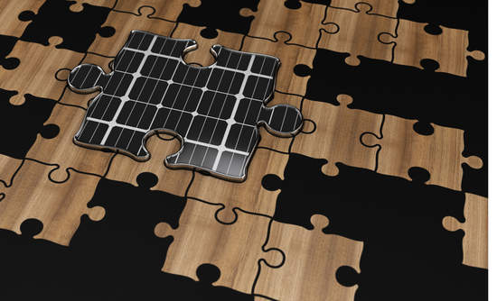 Illustration of photovoltaic puzzle piece