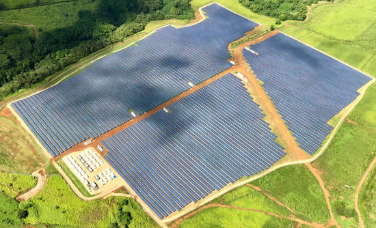 Aerial view of solar energy panel and forest. Kauai,Hawaii