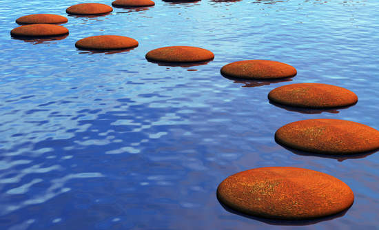 Stepping stones in water