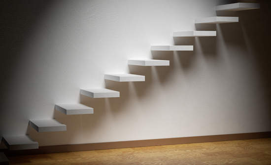 Photo of small steps on a wall
