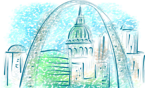 Illustration of St. Louis Gateway Arch and capital building