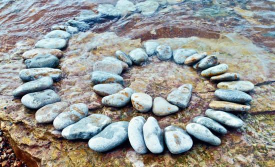 Stones in a spiral under water