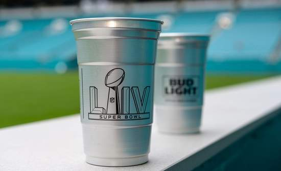 Super Bowl Cup, recycled aluminum, Ball Corp.