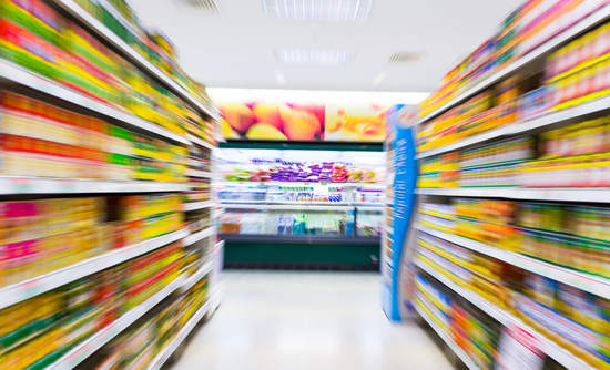 Blurred supermarket aisle