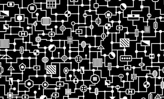 Black and white electronics pattern