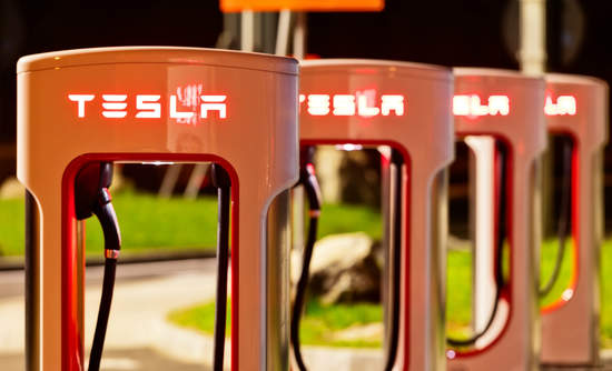 Tesla charging stations at night