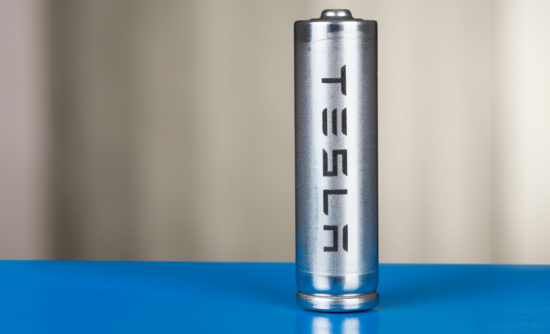 A battery labelled Tesla