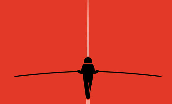 Illustration of figure walking a tightrope
