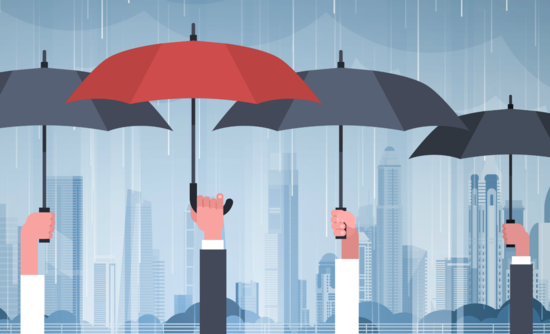 Illustration of hands holding umbrellas in the rain