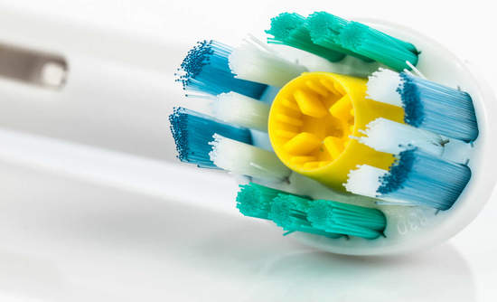 Close-up of electric toothbrush head