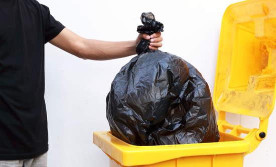 Taking out garbage