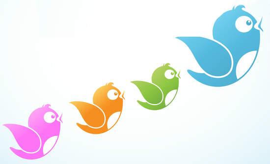 Illustration of Twitter bird logos following a leader
