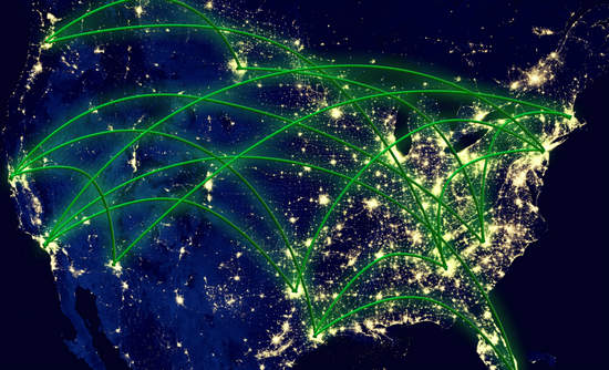 United States lit up at night