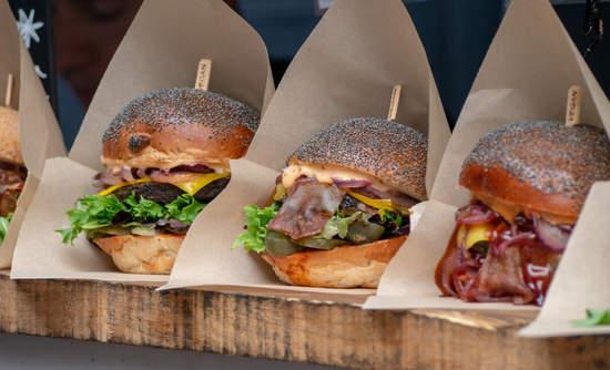 Vegan burger display at a take away stall in London's Borough Market