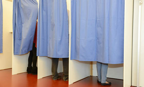 A voting booth in Switzerland
