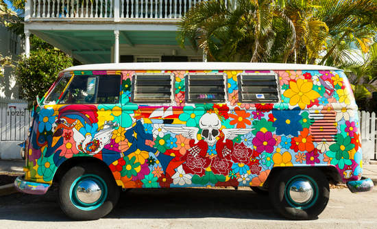 A vividly painted vintage VW van in Key West