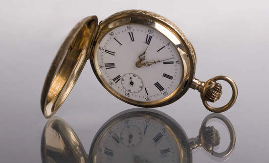 Pocket watch with reflection