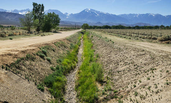 An empty irrigation channel in Owens Valley, Calif.